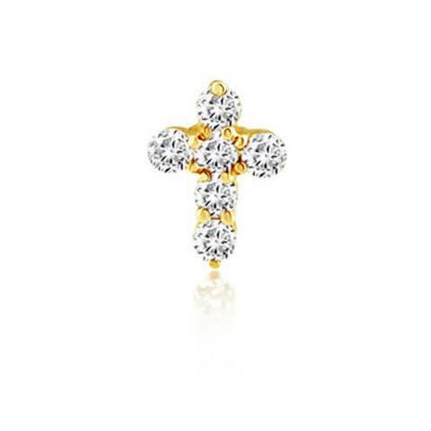 CROSS STONE STUD YELLOW GOLD VERMEIL