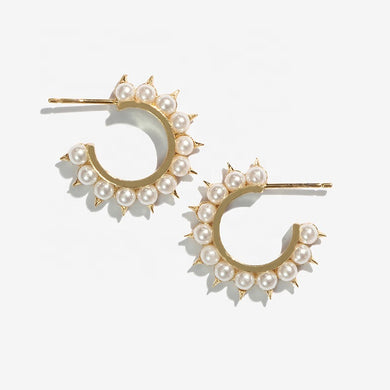 PEARL SPIKE HOOP YELLOW GOLD VERMEIL
