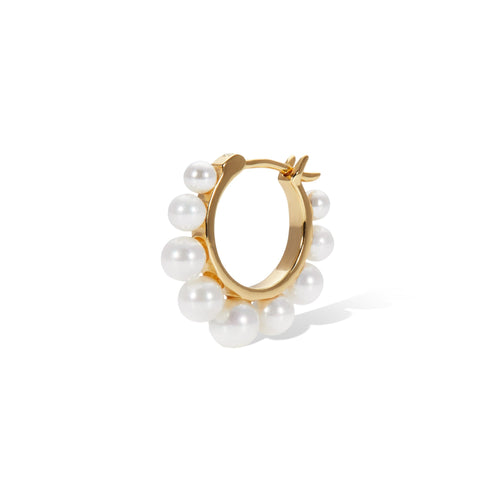 CROWN PEARL YELLOW GOLD VERMEIL HUGGIE