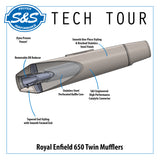 S&S Tapered Cone Mufflers - RE® 650 Twins - Interceptor/Continental GT
