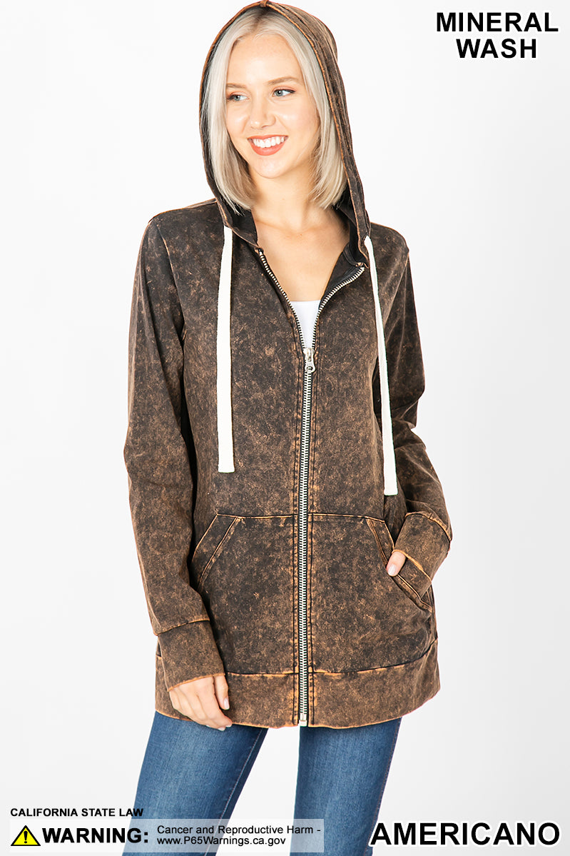 MINERAL WASH ZIPPERS HOODIE JACKET - Zenana Outfitters Women's Clothing