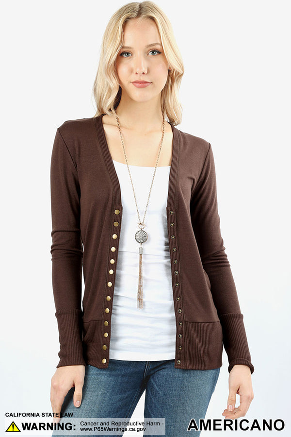 SNAP BUTTON SWEATER CARDIGAN WITH RIBBED DETAIL | Zenana Outfitters