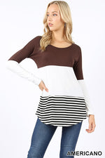PREMIUM LONG SLEEVE ROUND NECK COLOR BLOCK TOP