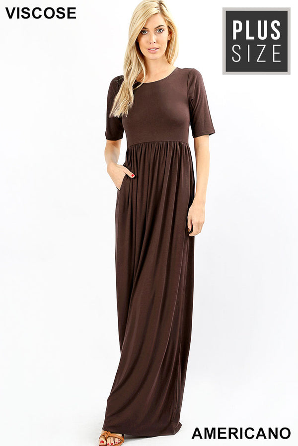 PLUS VISCOSE HALF SLEEVE MAXI DRESS - Zenana Outfitters Women's Clothing