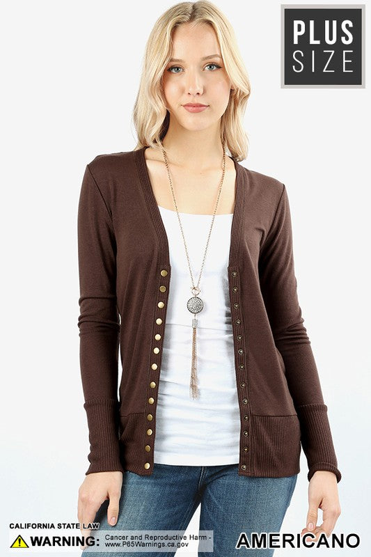 PLUS SNAP BUTTON CARDIGAN - Zenana Outfitters Women's Clothing
