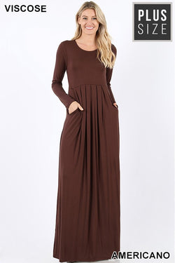 PLUS PLEATED WAIST LONG SLEEVE DRESS SIDE POCKETS - Zenana Outfitters Women's Clothing