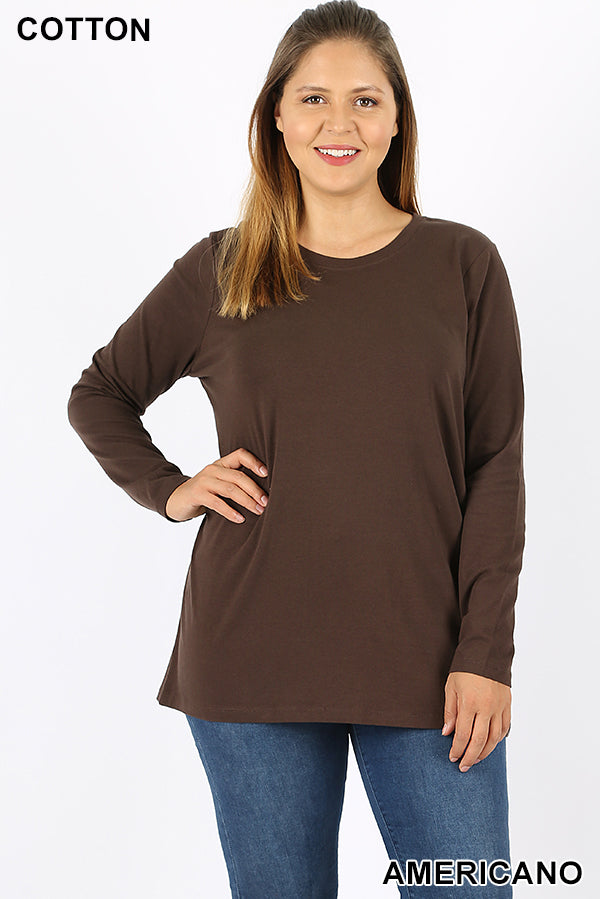 PLUS COTTON CREW NECK LONG SLEEVE T-SHIRT