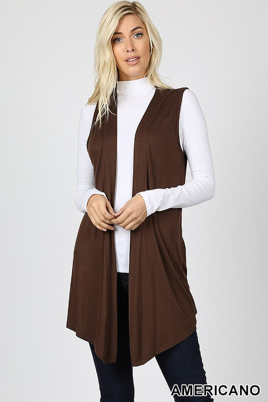 DRAPEY OPEN-FRONT SLEEVELESS CARDIGAN - Zenana Outfitters Women's Clothing