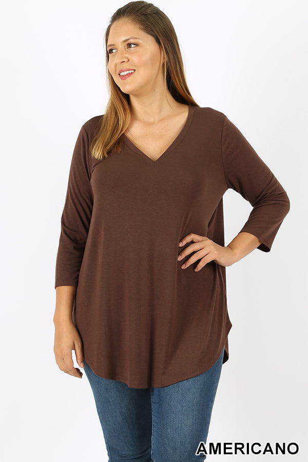 PLUS PREMIUM 3/4 SLEEVE V-NECK ROUND HEM TOP | Zenana Outfitters