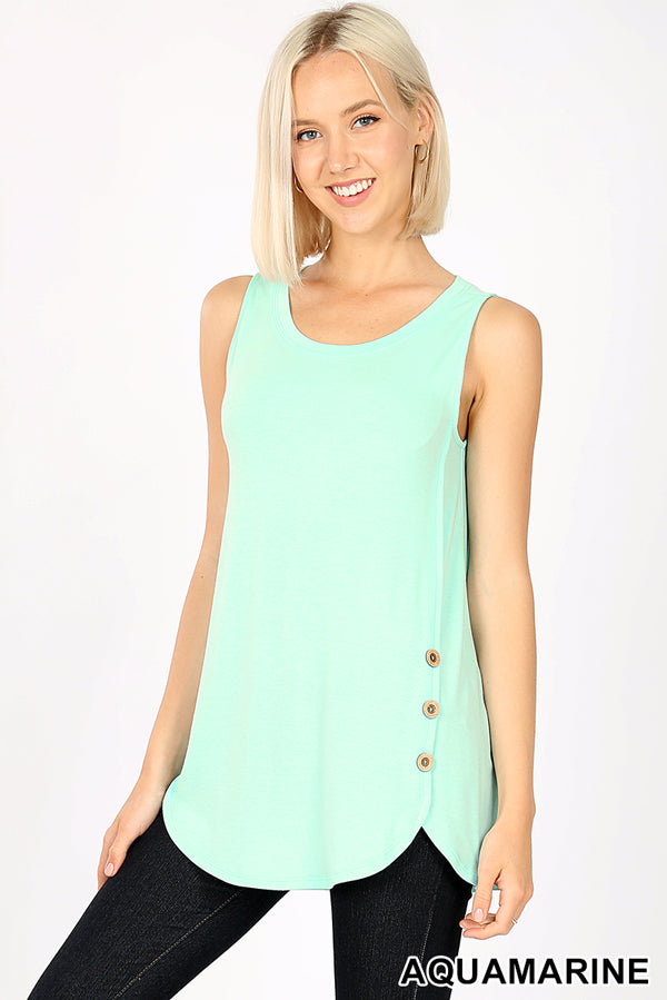 PREMIUM SLEEVELESS WOOD BUTTONS DOLPHIN HEM TOP - Zenana Outfitters Women's Clothing