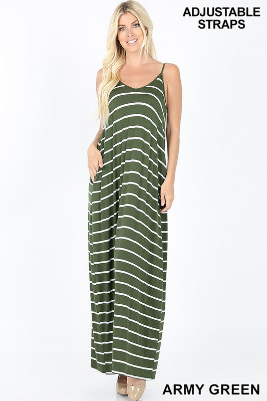 STRIPED V-NECK CAMI MAXI DRESS WITH POCKETS - Zenana Outfitters Women's Clothing
