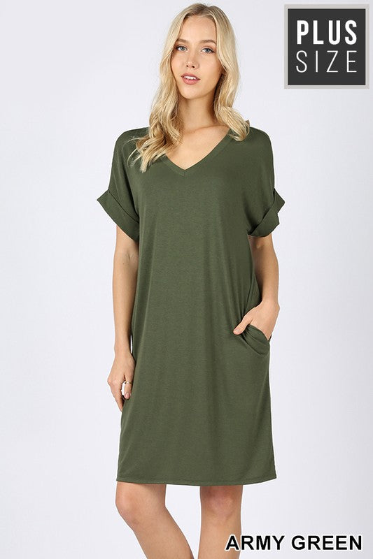 PLUS PREMIUM ROLLED SHORT SLEEVE V-NECK DRESS