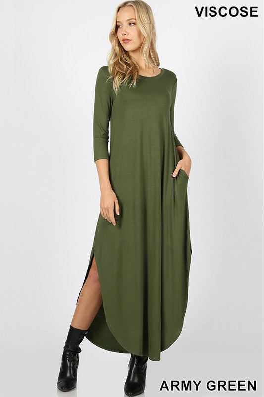 VISCOSE 3/4 SLEEVE MAXI DRESS SIDE SLITS & POCKETS