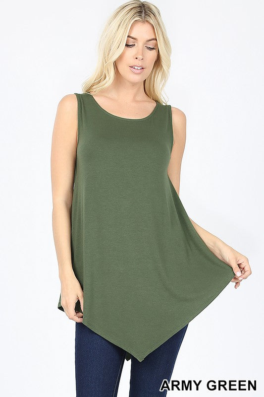 SLEEVELESS BOAT NECK TRIANGLE HEM TOP - Zenana Outfitters Women's Clothing