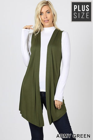 PLUS DRAPEY OPEN-FRONT CARDIGAN - Zenana Outfitters Women's Clothing