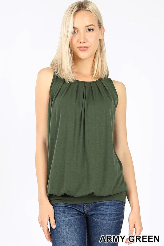 PREMIUM ROUND NECK PLEATED TOP WITH WAISTBAND - Zenana Outfitters Women's Clothing