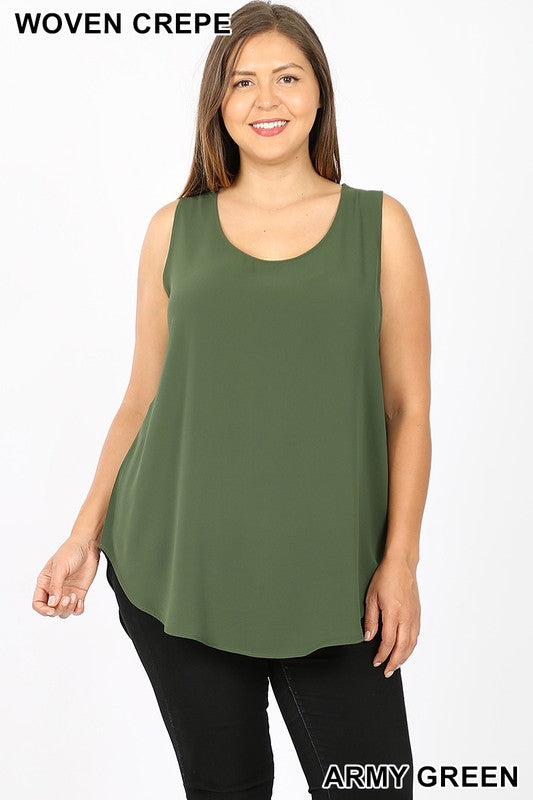 PLUS WOVEN CREPE SLEEVELESS ROUND NECK TOP - Zenana Outfitters Women's Clothing