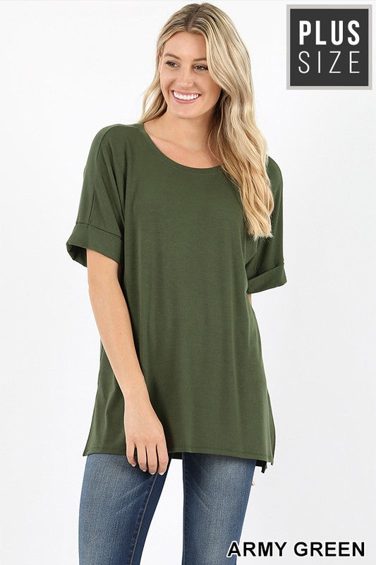 PLUS ROLLED SLEEVE SIDE SLIT HIGH-LOW HEM - Zenana Outfitters Women's Clothing