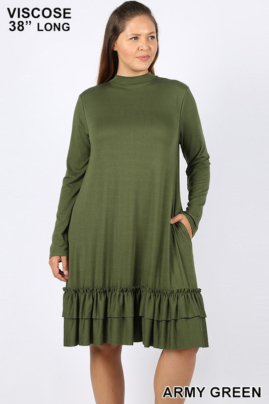 PLUS VISCOSE MOCK NECK RUFFLE HEM DRESS
