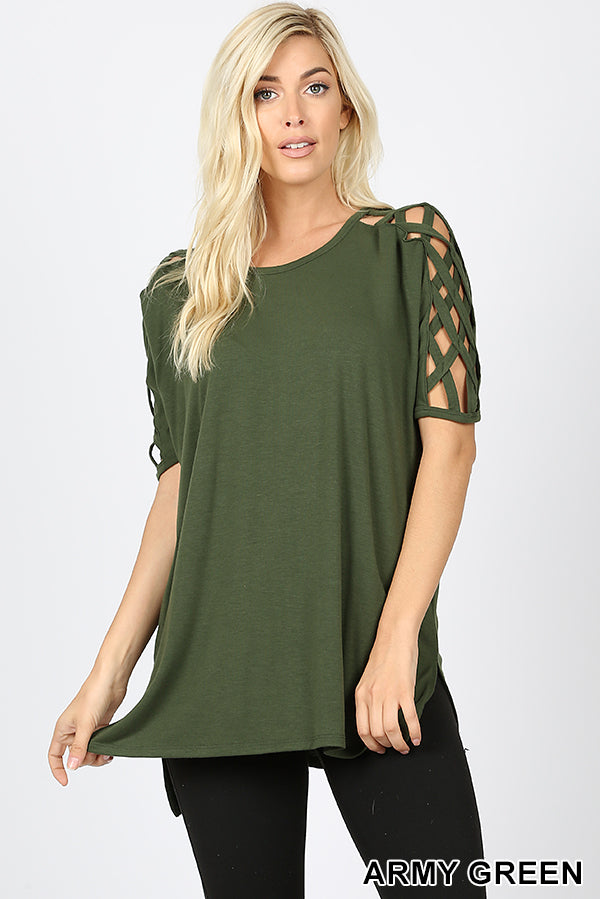 CRISS-CROSS SHOULDER SIDE SPLIT HI-LOW HEM TOP - Zenana Outfitters Women's Clothing