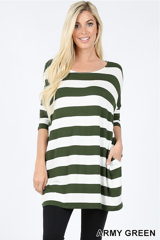 STRIPE DROP SHOULDER HALF SLEEVE BOXY TOP - Zenana Outfitters Women's Clothing