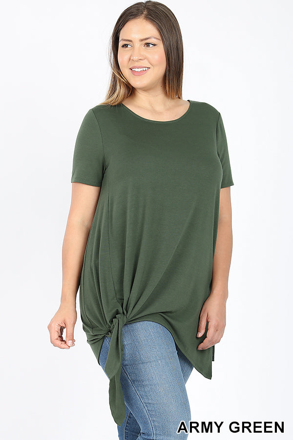 PLUS ASYMMETRICAL SIDE TIE SHARK BITE HEM TOP | Zenana Outfitters