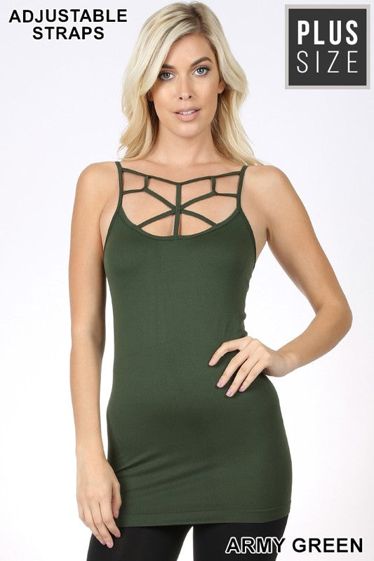 PLUS SEAMLESS WEB DETAIL FRONT CAMI - Zenana Outfitters Women's Clothing