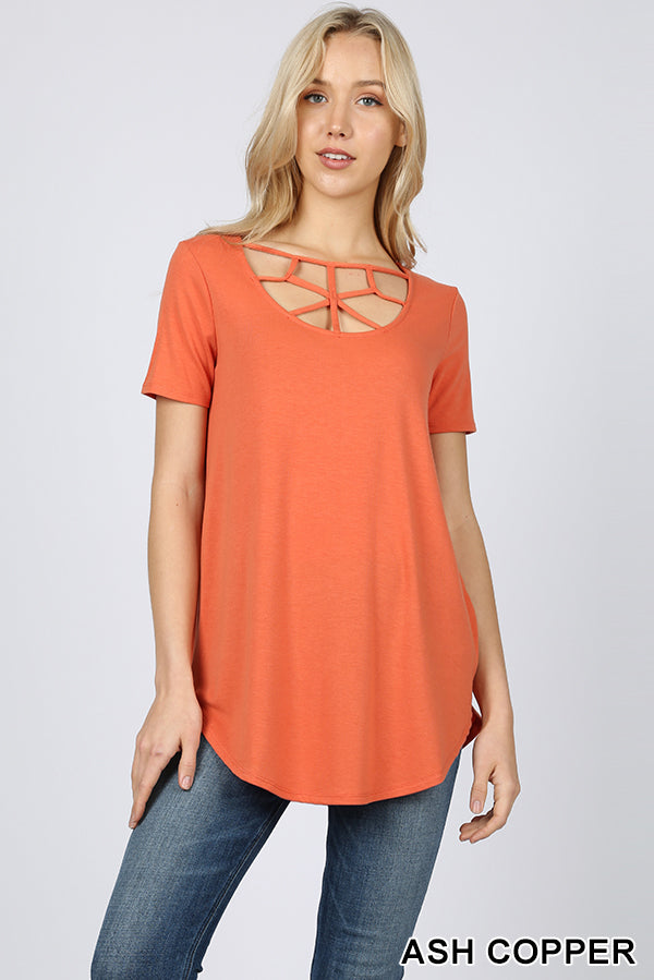 SHORT SLEEVE WEB DETAIL FRONT ROUND HEM TOP - Zenana Outfitters Women's Clothing