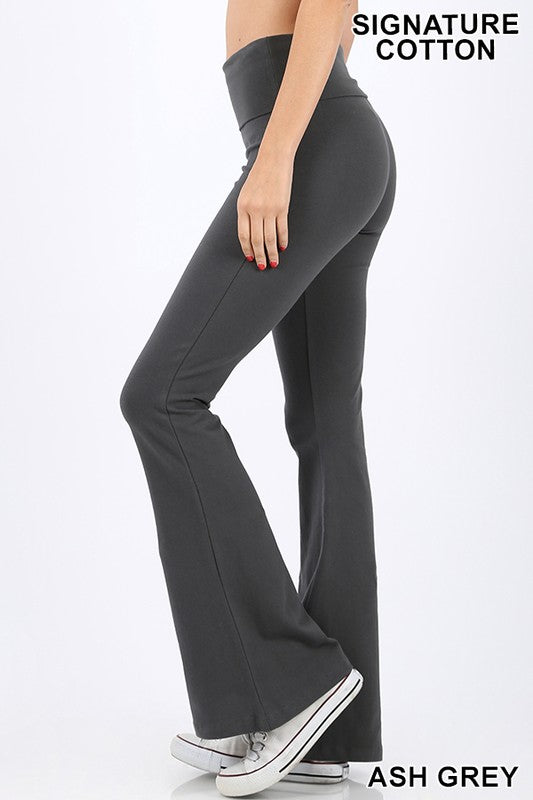 COTTON FOLD-OVER FLARE YOGA PANTS