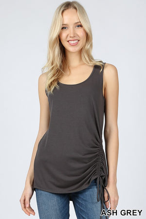 PREMIUM SLEEVELESS ROUND NECK SIDE RUCHED TOP - Zenana Outfitters Women's Clothing