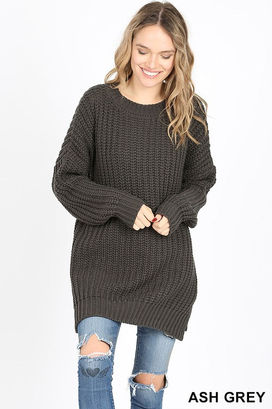 LONG SLEEVE ROUND NECK WITH SIDE SLIT SWEATER - Zenana Outfitters Women's Clothing