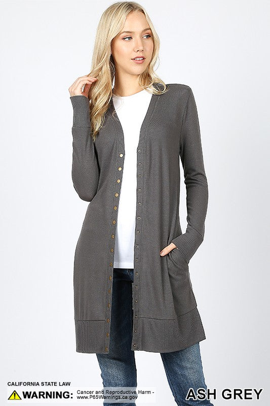 THIGH-LENGTH SNAP BUTTON CARDIGAN - Zenana Outfitters Women's Clothing