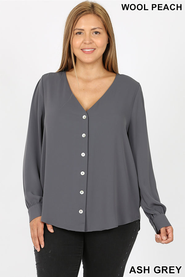 PLUS WOVEN WOOL PEACH SHELL BUTTON SHIRTS - Zenana Outfitters Women's Clothing