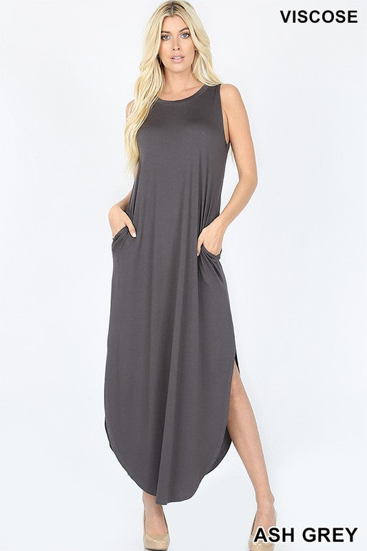 VISCOSE SLEEVELESS MAXI DRESS SIDE SLITS POCKETS | Zenana Outfitters