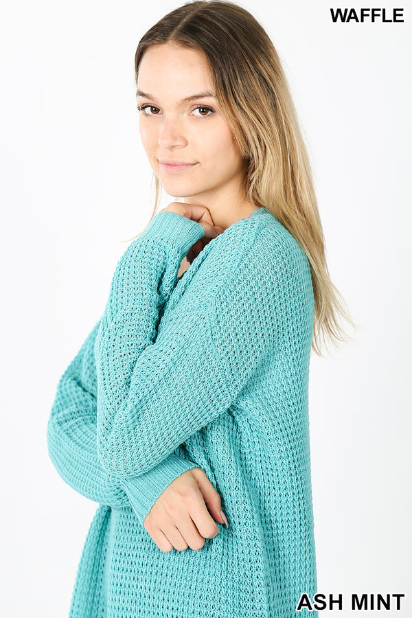 HI-LOW LONG SLEEVE ROUND NECK WAFFLE SWEATER | Zenana Outfitters