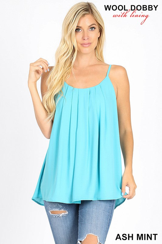 WOOL DOBBY PLEATED  SPAGHETTI CAMI WITH LINING | Zenana Outfitters