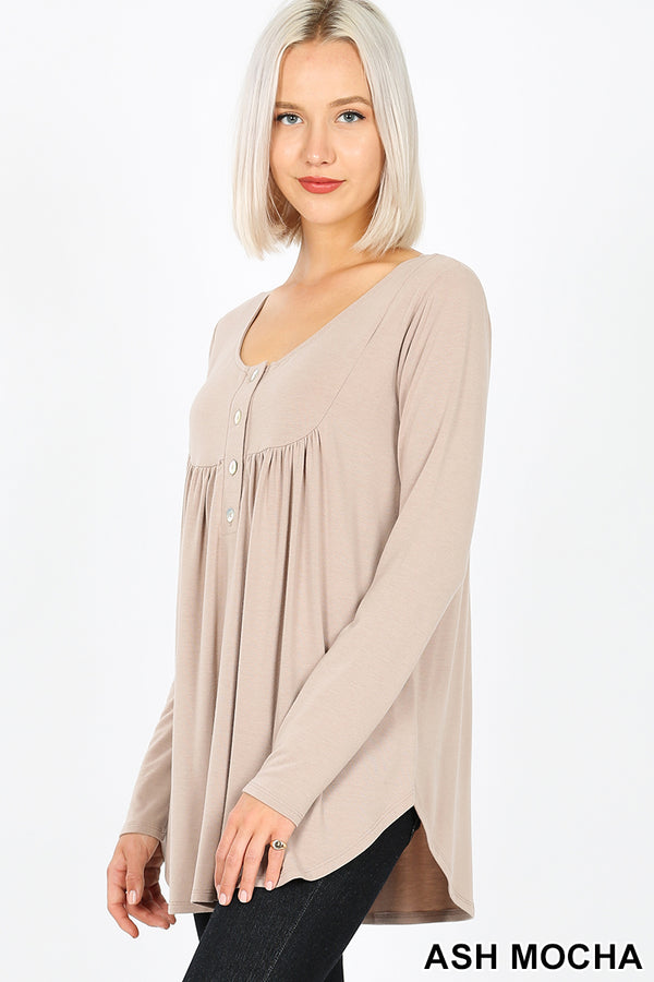 HENLEY NECK WITH YOKE SHIRRING TOP - Zenana Outfitters Women's Clothing