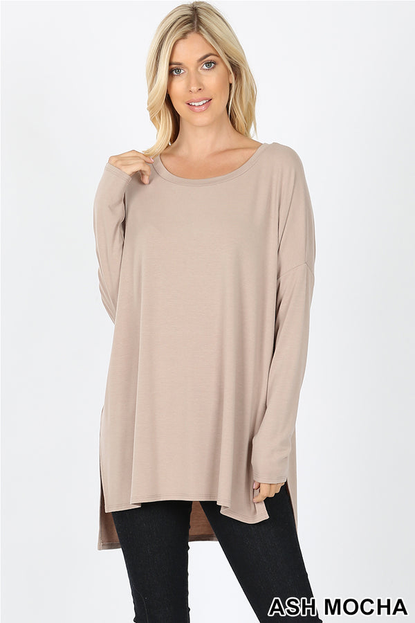DOLMAN SLEEVE ROUND NECK SIDE SLIT HI-LOW HEM TOP - Zenana Outfitters Women's Clothing