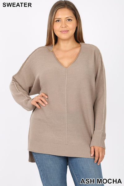 PLUS RIBBED TRIM SEAM DETAILED V-NECK SWEATER - Zenana Outfitters Women's Clothing