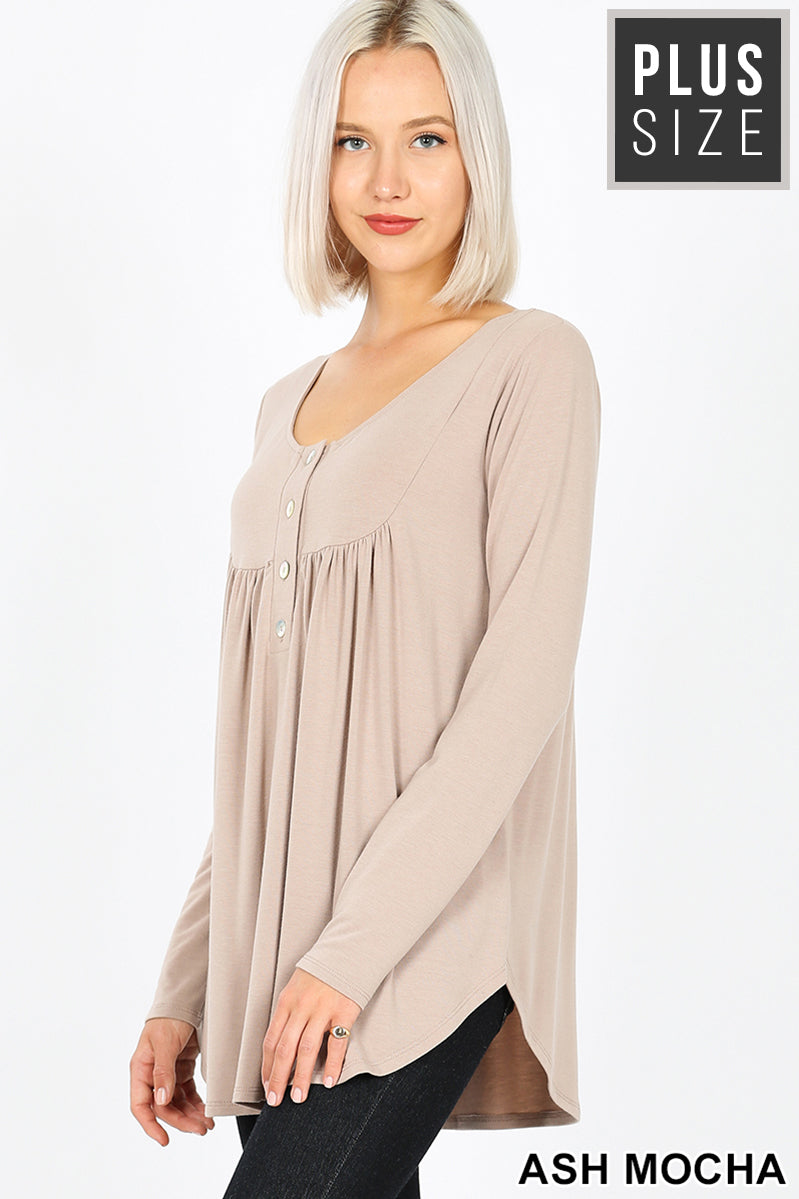 PLUS HENLEY NECK WITH YOKE SHIRRING TOP | Zenana Outfitters