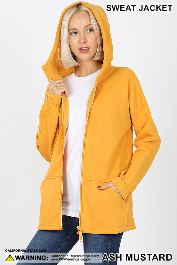 2 WAY ZIPPERS HOODIE SWEAT JACKET KANGAROO POCKETS - Zenana Outfitters Women's Clothing
