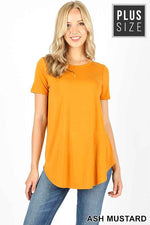 PLUS PREMIUM SHORT SLEEVE ROUND NECK ROUND HEM TOP - Zenana Outfitters