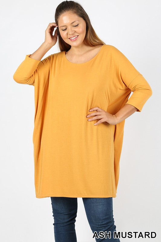 PLUS PREMIUM FABRIC 3/4 SLEEVE DOLMAN TOP