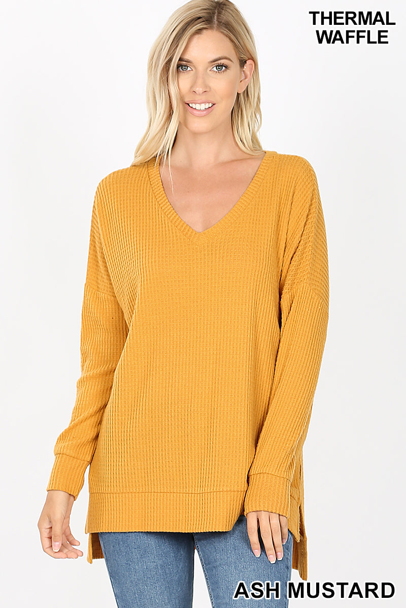 BRUSHED THERMAL WAFFLE V-NECK SWEATER HI-LOW HEM - Zenana Outfitters Women's Clothing