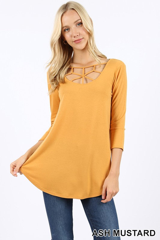 3/4 SLEEVE WEB DETAIL FRONT ROUND HEM TOP