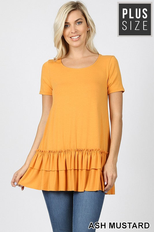 PLUS SHORT SLEEVE ROUND NECK RUFFLE BOTTOM TOP