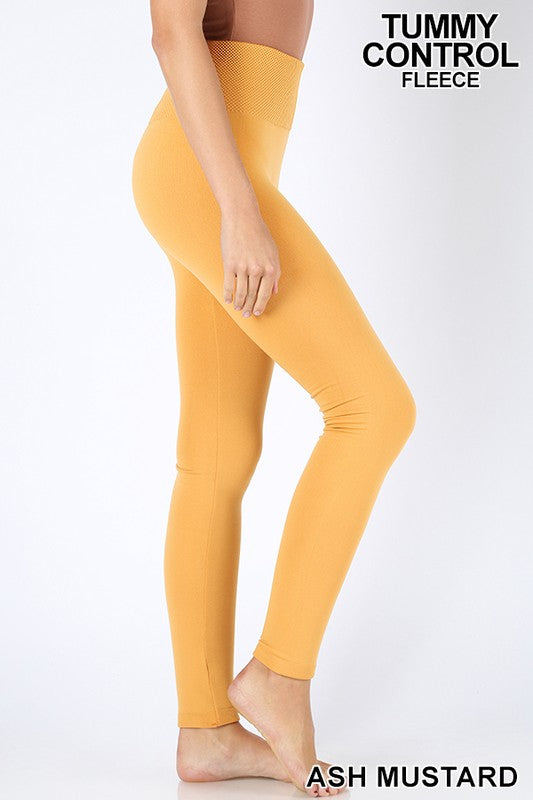 TUMMY-CONTROL FLEECE HIGH WAIST SEAMLESS LEGGINGS - Zenana Outfitters Women's Clothing