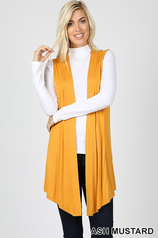 DRAPEY OPEN-FRONT SLEEVELESS CARDIGAN | Zenana Outfitters