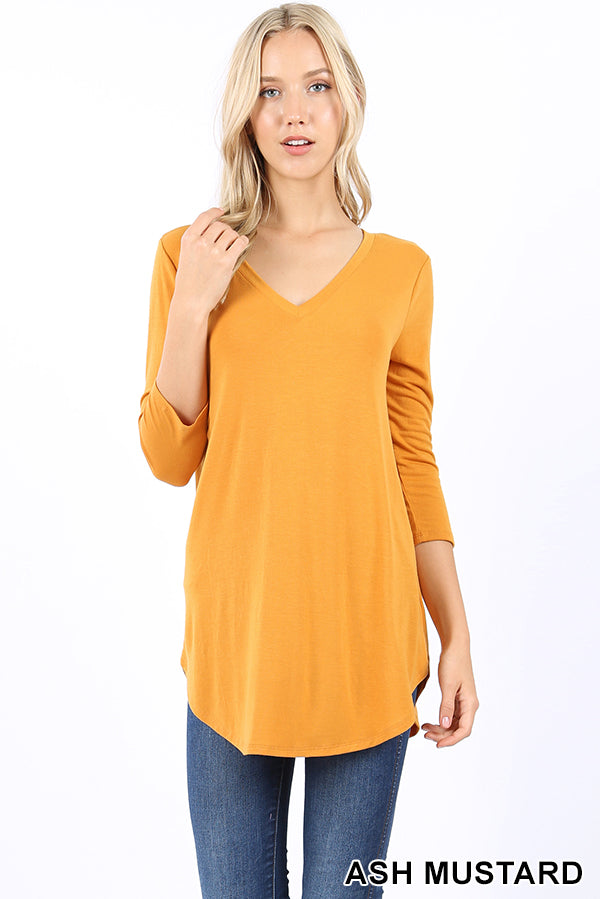 PREMIUM FABRIC 3/4 SLEEVE V-NECK ROUND HEM TOP | Zenana Outfitters