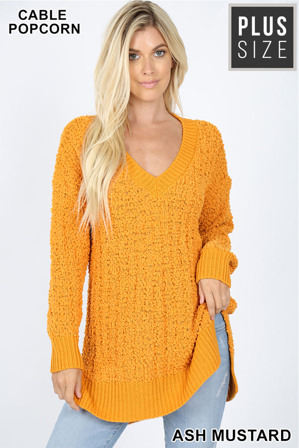 PLUS V-NECK CABLE POPCORN SWEATER HI-LOW HEM - Zenana Outfitters Women's Clothing
